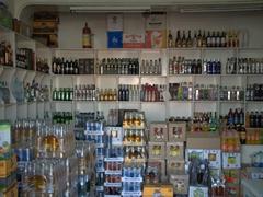 A huge selection of vodka for sale; Khujand