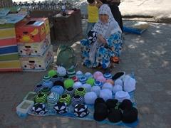 Handmade skull caps for sale; Khujand Bazaar