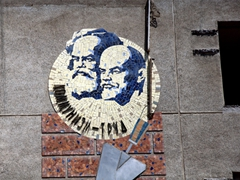 Marx and Lenin mural; Khujand