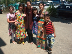 Becky was asked by this friendly group of Tajik children to strike a pose; Istaravshan