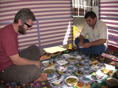 Our simple lunch consisted of a traditional Tajik soup (always served with a healthy portion of coriander) followed by a dish of meat. Hot tea accompanied every single meal (breakfast, lunch and dinner)