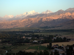 Snow capped mountains in a peaceful Tajikistan setting