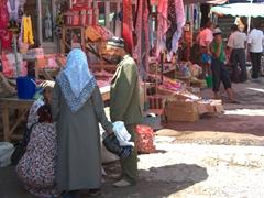 Locals bartering at the Penjikent Bazaar