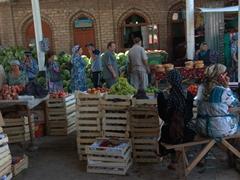 Fruit section of the bustling Penjikent Bazaar