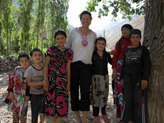 Becky meets the friendly children of the village between the 4th and 5th Lakes of Haft-Kul (Seven Lakes); Marguzor