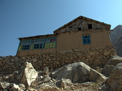 A typical house built high up in the Fann Mountains
