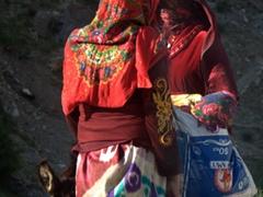 Colorfully attired Tajik ladies at Marguzor Lake