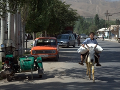 The ubiquitous Lada (Russian car), boy atop donkey and sidecar motorcycle make up a street scene in Ayni