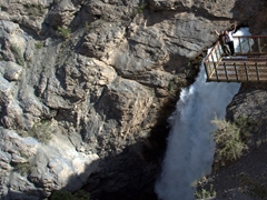 """Posing next to a 40m waterfall known locally as """"Niagara""""; Iskanderkul"""