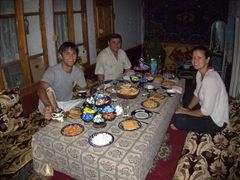Getting ready for our dinner feast (Tajik plov, a traditional rice dish simmered with moist lamb morsels) at our homestay in Sarotog Village