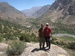 Halfway up to the top of the mountain with Karakul River meandering behind us