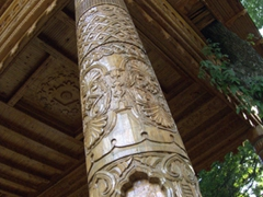 Detail of a carved beam seen on the wooden structures in Dushanbe's National Botanical Gardens