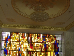 Stained glass window in the foyer of Hotel Avesto; Dushanbe