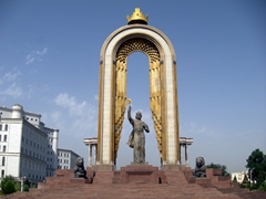 "A grandiose statue of Ismoil Somoni, a Tajik cult hero. The golden crown at the top of the monument is believed to be of solid gold, weighing 10kg. Be wary of the policemen who try to extort money if you approach too close to the monument but feel free to snap photos without paying a ""bribe"""