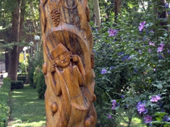 Carved wooden post in Ayni Park; Dushanbe