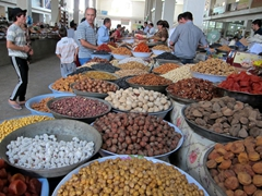 A myriad of nuts and fruits for sale; Green Bazaar (Shah Mansur)