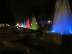 Colorful lights in the fountains at Rudaki Park come nightfall (the park benches here are premium real estate with lovers fighting over available space); Dushanbe