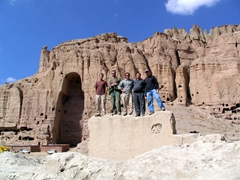 The counter-narcotics team & Robby posing in front of the massive Buddha niche in Bamiyan
