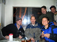 Robby, Dave, Rick & Becky having some tea in the guards' shack; Kabul