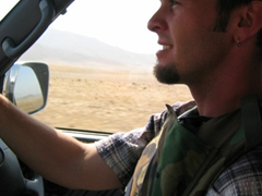 Robby behind the wheel on the Bagram-Kabul highway