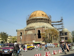 A mosque undergoing renovations; Kabul