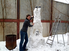 Becky beside Niazi's upsidedown snowman; ISAF Headquarters