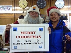 Santa visits Becky to find out if she's been naughty or nice; Kabul