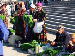 Fresh herbs for sale; Tashkent Market