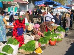 A colorful scene at the Tashkent market