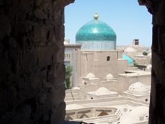 Gorgeous turquoise dome, a common sight in Khiva