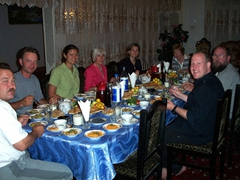 Group dinner, Khiva