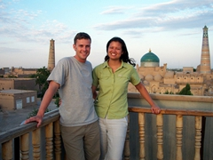 Enjoying the sunset over phenomenal Khiva, one of the prettiest cities in Central Asia!