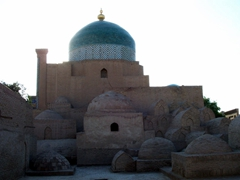 Ornate tombs. Khiva is a fascinating city to wander around - there are over 50 historic monuments and 250 old houses, mostly dating from the 18th or the 19th centuries
