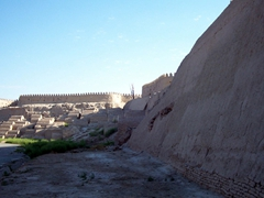 View of the 10th Century brick wall surrounding the inner city (Itchan Kala); Khiva