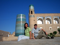 Posing near the Kalta Minor Minaret, Khiva