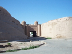 Another view of the 10 meter high clay walls surrounding Ichan-Kala; Khiva