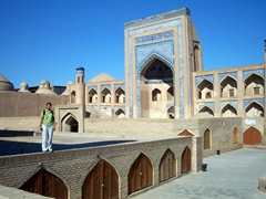Becky admiring Khiva's beautifully preserved historical sights