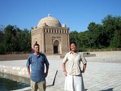 Posing in front of Ismail Samani Mausoleum, Samani Park, Bukhara
