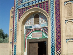 Colorful tile work on the main façade to this mosque in Bukhara