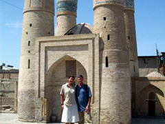 Posing at Chor Minor Madrassah (4 Minarets); Bukhara