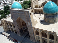 View from Kalyan tower (Tower of Death) of the Mir-i-Arab Madrassa; Bukhara