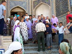 Gathering at the 12th Century Kalon Mosque, Bukhara