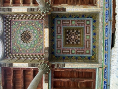 Detail of the amazing ceiling of the Bolo Hauz Mosque, Bukhara. Built in 1718, this mosque is still functioning