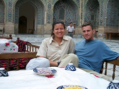 Relaxing at the Registan while waiting for dinner, Samarkand