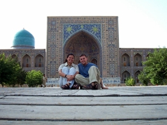 Posing in the middle of the Registan