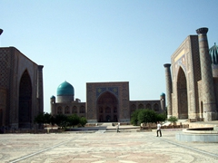 "The Registan was the heart of the ancient city of Samarkand. From left to right stands the Ulugh Beg Madrasah, Tilya-Kori Madrasah and Sher-Dor Madrasah. The name ""Registan"" means ""sandy place"" in Persian"