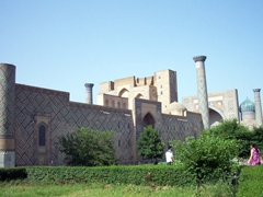 Exterior view of the Registan, a public square where executions were carried out and royal proclamations were announced; Samarkand
