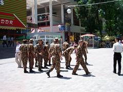 Uzbek soldiers on Sayilgoh Kuchasi; Tashkent