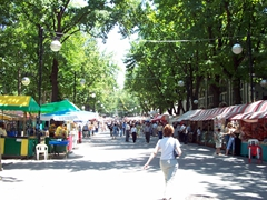 "A view of Tashkent's main pedestrian street, the Sayilgoh Kuchasi, locally referred to as ""The Broadway"" (similar to Moscow's Arbat Street)"