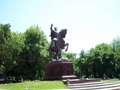 A monument of Amir Temur (Tamerlane) in the center of Tashkent